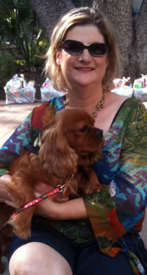Meg Gangi and Poppy a female Ruby Cavalier